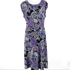 EnFocus Studio Paisley Ruched Dress Stretch Jersey